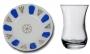 Чайная пара:турецкий стаканчик и фарфоровое блюдце для чая синее
